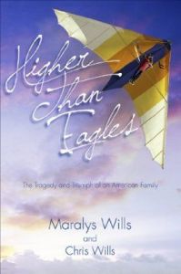 Softback cover photo of 'Higher than Eagles' of Chris Wills flying a Superswallowtail
