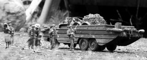 Italeri 1/35 scale DUKW with Tamiya British soldiers and Master Box WW2 women