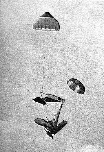 Art based on a photo by A.J. Kulhavy of John Duffy and Ian Huss after a mid-air collision in 1984