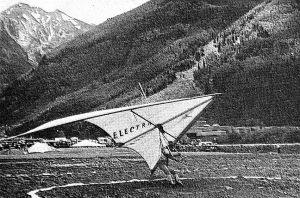 Art based on a photo by Russ Stolling of Larry Newman in the Electra Flyer Cirrus at Telluride, Colorado