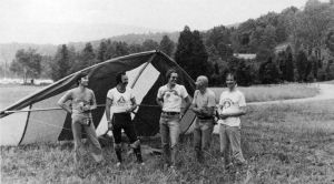 SpaceLab crew Ulf Merbold, Wubbo Ockels, hang gliding instructors Don Guess and Dick Heckman, with Spacelab astronaut Claude Nicollier in 1980
