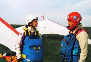 Hang glider pilots Lucy and Gary in about 2000