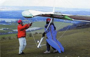 Art based on a photo by Bob Dear at a hang gliding competition Harting Down in mid-April 2002