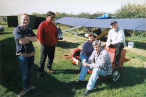 Powered ultralight pilots at Newton Peveril, Dorset, England, in 2000