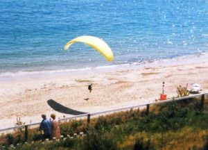 Paraglider landing on Bournemouth beach in June 1997