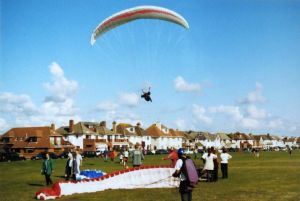 Paragliders at Barton-on-Sea in about 2000