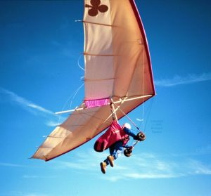 John Midgely launching in a hang glider in Spain in September 1995