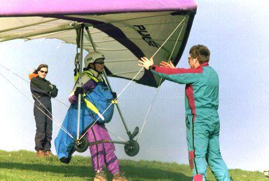 Lucy G about to launch in a Pacific Airwave Pulse at Mere, Wiltshire, England