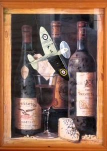 Tamiya 1/48th scale Spitfire and wine bottle art by Raymond Campbell