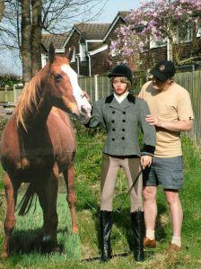 Cardboard horse, Caroline Realdoll, and owner in 2012