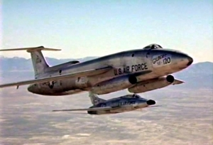 Screenshot of the Martin XB-51 as the Gilbert XF-120 fighter with a F-100 chase plane from Wikipedia