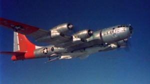 The Bell X-2, here attached to its B-50 mother ship, is also a star of this movie.