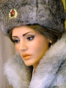 Younger Anoushka Anatomical Doll portrait in fur hat and fur coat
