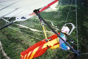 Hang glider wing camera view over France in May 1997 with the Northampton Hang Gliding Club