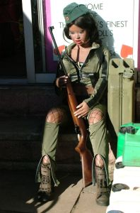 Lina Realdoll on guard duty with a rifle
