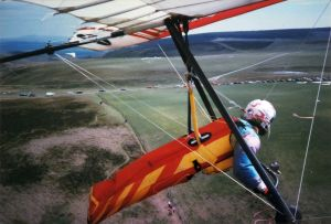 Hang gliders and  sailplanes (gliders) at the Long Mynd in Shropshire
