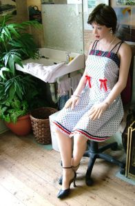 Louise Realdoll sitting with a broken back in 2005