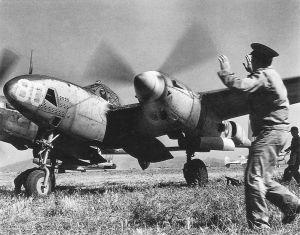 Antoine de Saint-Exupéry taxying a Lockheed F5A Lightning