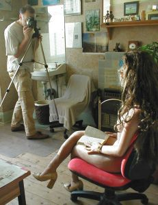 Everard Cunion photographing Rebecca Realdoll in 2005