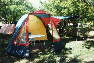 Everard's big tent in Laragne, France, May 1997
