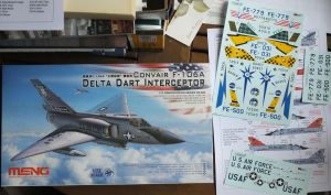Meng 1/72 scale F-106 Kit box and extra decals including markings of the Project Eclipse aircraft