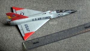 Finished Meng F-16 is 12 inches long with a 6.5 inch span