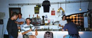Declan Doyle (partly hidden at left) at the Speed Bar,Ager, northern Spain, September 1995