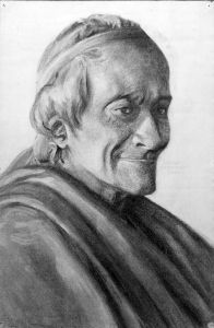 Monk charcoal drawing by Kathleen Mary King, about 1937