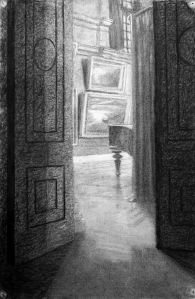 Piano and paintings through open door charcoal drawing by Kathleen Mary King, about 1937