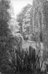 Reeds, trees, and river charcoal drawing by Kathleen Mary King, about 1937