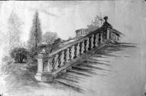 Stone steps charcoal drawing by Kathleen Mary King, about 1937