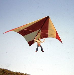 Roly's first flight near Winfrith in Dorset, 1975