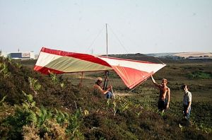 Roly's brother clipped in to Roly's glider for its first flights near Winfrith in Dorset, 1975