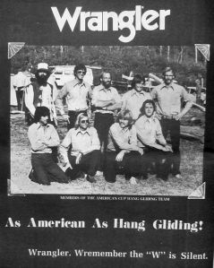 Wrangler advert in Glider Rider