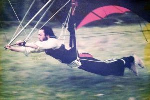 Home-made hang glider in 1978
