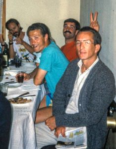 Declan Doyle in a restaurant at Ager, Spain,in September 1989