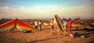 Hang glider landing field at Caleta de Famara, Lanzarote, Canary Islands, in December 1995
