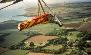 Hang gliding at Kimmeridge in September 2000 (digitized slide)