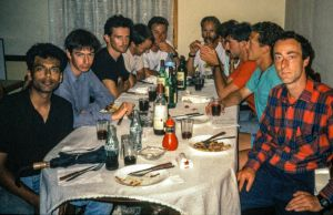Pilots at a restaurant in Ager, Catalonia, Spain, in September 1989