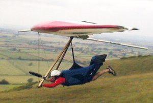 Rigid hang glider launching at Westbury
