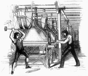 Luddites machine breaking drawing about 1812