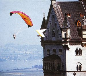 Art based on a photo by Kozeny of Robbie Whittall and John Pendry at King Ludwig's Castle, Neuschwanstein, in 1990
