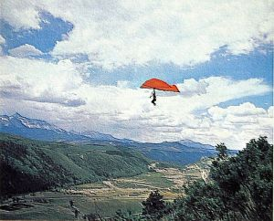 Art based on a photo by Leroy Grannis of the view from launch at Telluride in July 1974