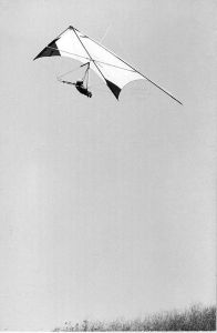 Instructor Ken de Russy in a Swallowtail at the Mesa training hill, Santa Barbara