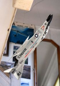 Academy 48th scale F-4B hanging in the hall of Montezuma