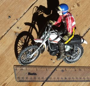 Revell 12th scale Yamaha 250 MX bike and rider with plastic ruler alongside
