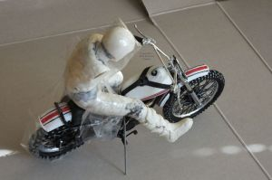 Part built rider taped on to Revell 12th scale Yamaha 250 MX bike