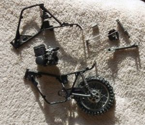 Revell 12th scale Yamaha 250 MX bike frame assembly