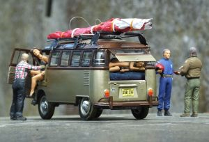 1/24th scale scatch-builtStd Rogallo wing on Revell VW Samba bus