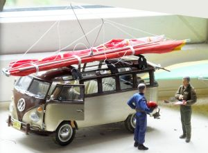 1/24th scale scatch-built standard Rogallo wings on Revell VW Samba bus